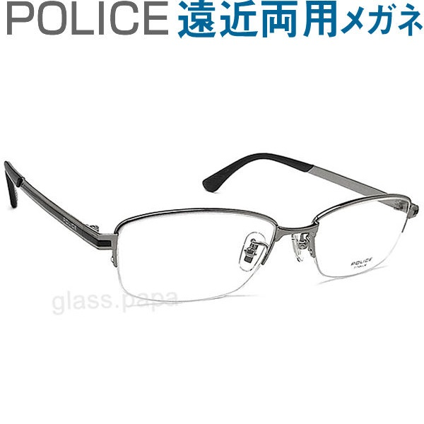30代の頃に戻るメガネ ポリス遠近両用メガネ《安心のSEIKO・HOYAレンズ使用》POLICE 824J-0568 老眼鏡の度数でご注文下さい 近くも見える伊達眼鏡 男性用 普通サイズ