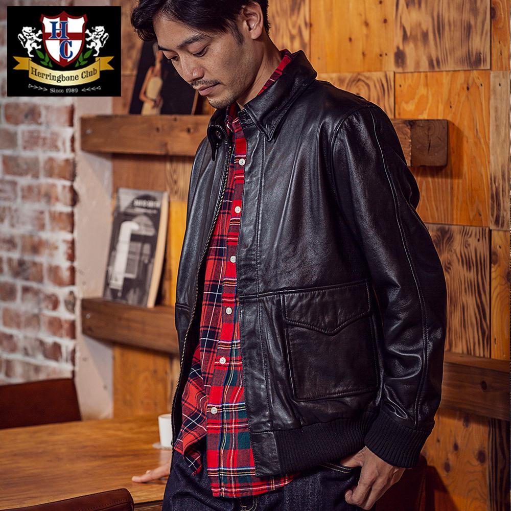 ラムスキン A2 フライト ブルゾン 羊革 ジャケット アウター メンズ [Herringbone Club /ヘリンボーンクラブ][送料無料] セール対象