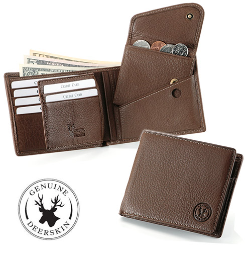 Supple deerskin and a two fold wallet