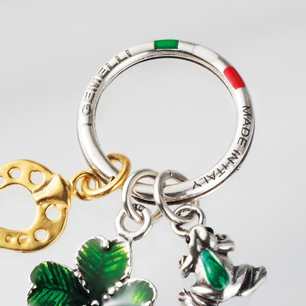 意大利制造银子幸运迷人键环[I GEMELLI/i·jiemeri][父亲节母亲节圣诞节情人节礼物人分歧D滑雪持有人]格伦场