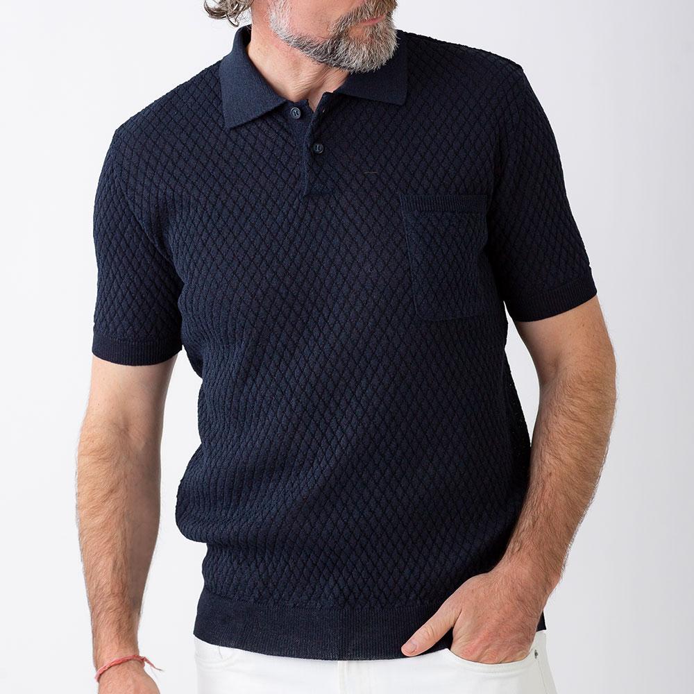 和紙 ニット ポロシャツ 半袖 メンズ 男性 紳士