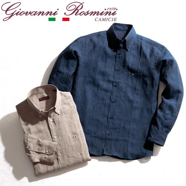 [送料無料]イタリア製リネンボタンダウンシャツ グレンフィールド[18ap05]