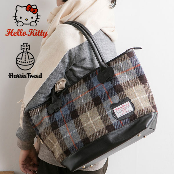 Hello Kitty x haristeadgrandetort bag [Tote shoulder bag women's gifts his  her Sanrio Hello Kitty-Chan-United Kingdom Harris Tweed HarrisTweed