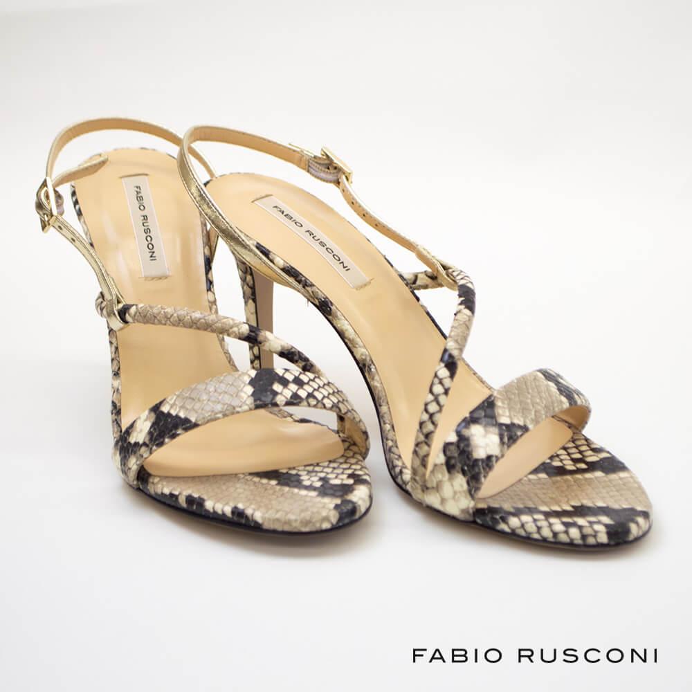 FABIO RUSCONI ファビオルスコーニ ストラップサンダル MACRA / PITONE × PLATINO パイソン 2020春夏