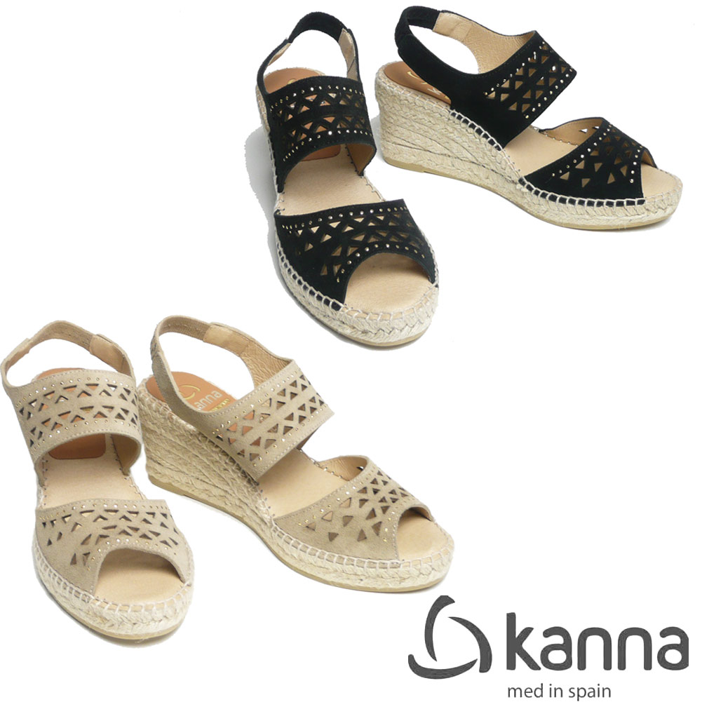 KANNA plane suede leather jute sandals cutwork type 7cm heel 19KV9133-19ss  Lady's shoes sandals wedge sole jute sole lovely mature stylish black black