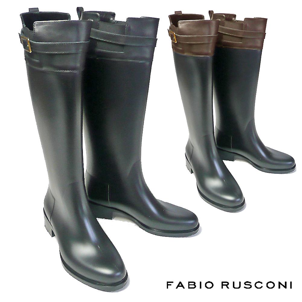 ファビオルスコーニ FABIO RUSCONI ロングブーツ レインブーツ 1056イタリア製 レディース レインシューズ ジョッキーブーツ ラバー 防水 雨 梅雨 台風 ブラック 黒 ブラウン 茶 22.5cm 23cm 23.5cm 24cm 24.5cm  彼女 妻 女性 人気  コーデ 靴