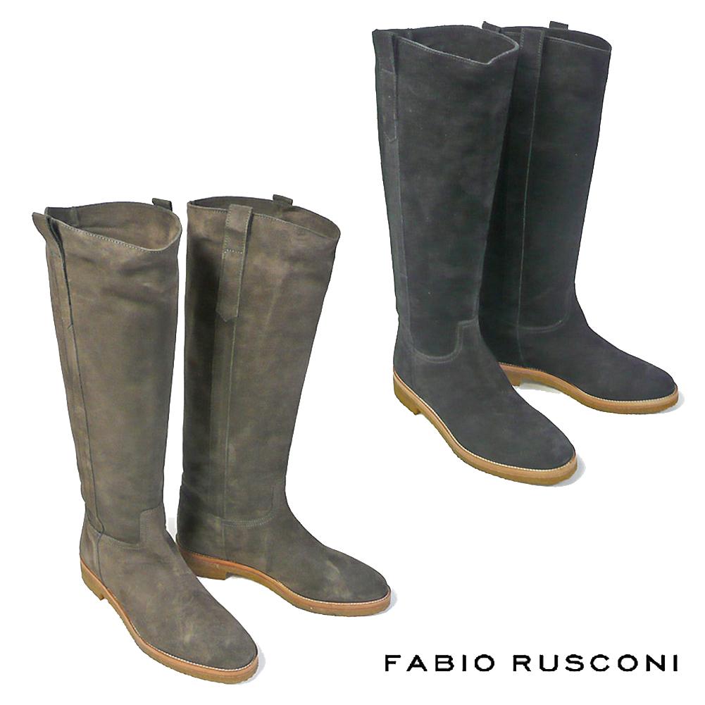 ファビオルスコーニ FABIO RUSCONI ウェスタン ロングブーツ 2205ウェスタンブーツ レディース ローヒール 歩きやすい ぺたんこ ブラック 黒 ブラウン 茶 カーキ 22.5cm 23cm 23.5cm 24cm 24.5cm 彼女 妻 女性 人気 レディース シューズ 靴