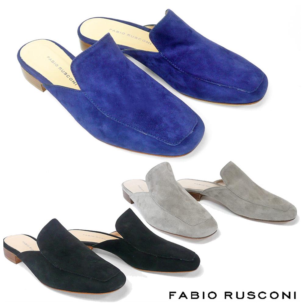 ファビオルスコーニ FABIO RUSCONI スエード ミュール 3588スリッパサンダル ミュール サンダル ローヒール ぺたんこ 黒 ネイビー グレー 彼女 妻 女性 人気 レディース シューズ 靴