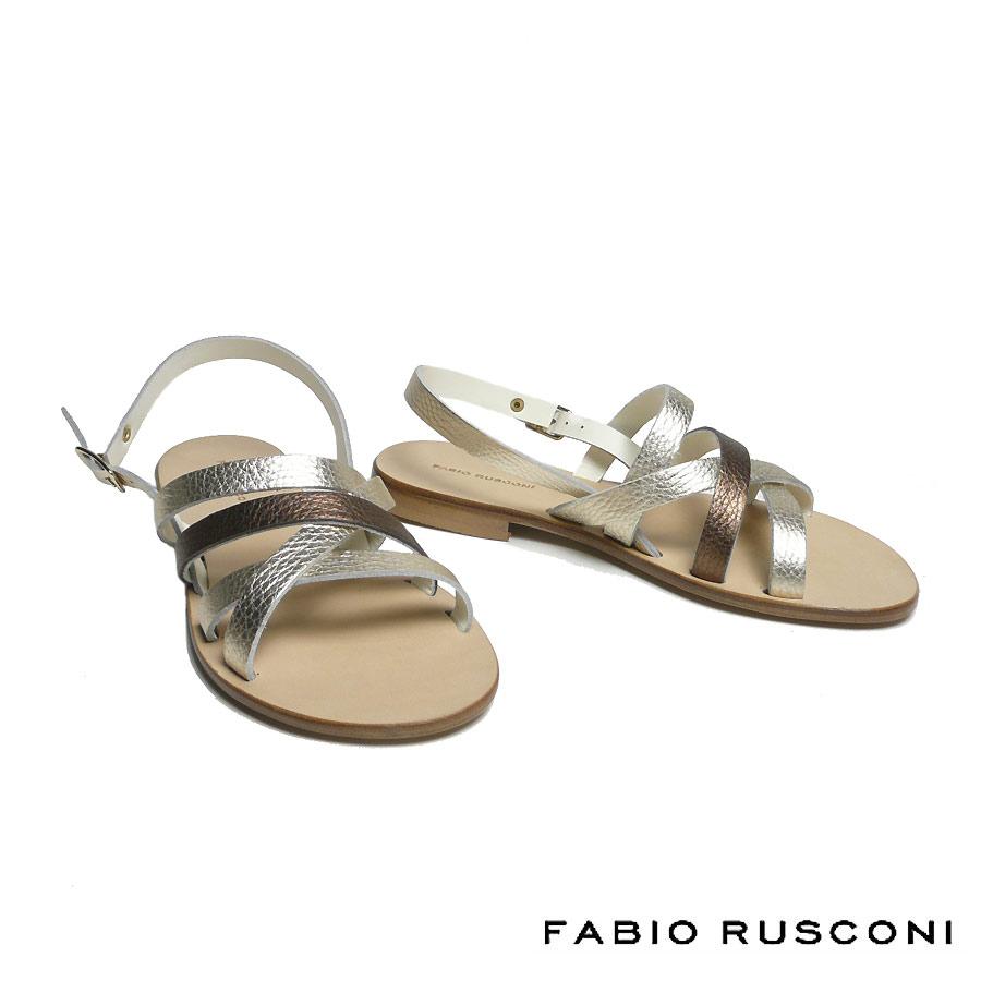 ファビオルスコーニ FABIO RUSCONI クロスデザイン サンダル レディース 2019春夏 チェルボ レザー フラットヒール DH28-19ss