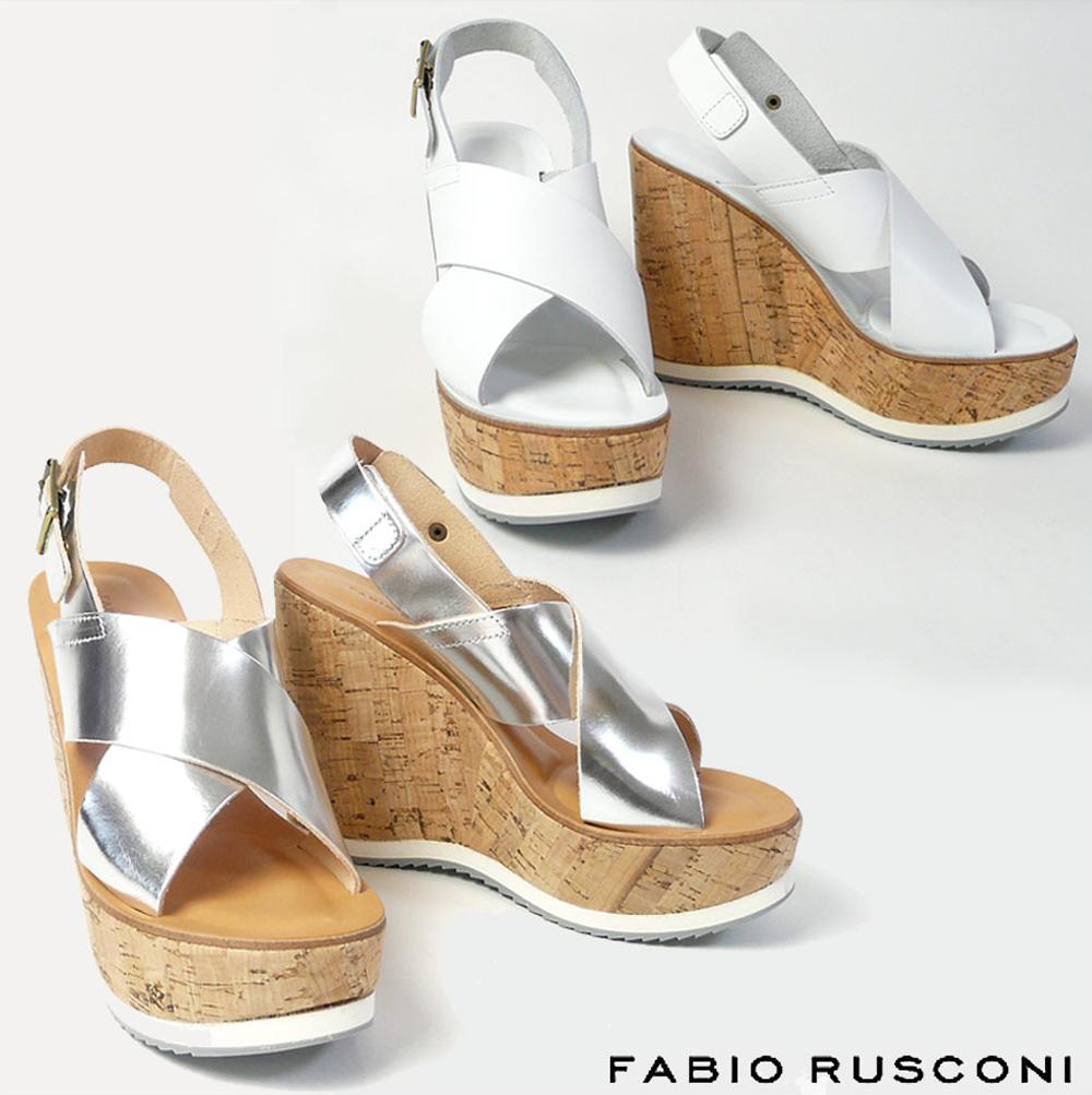 ファビオルスコーニ FABIO RUSCONI コルク ウェッジソール サンダル KEY299ウェッジソール サンダル コンフォートサンダル ストラップサンダル ホワイト 白 シルバー 22.5cm 23cm 23.5cm 24cm 彼女 妻 女性 人気 レディース シューズ 靴