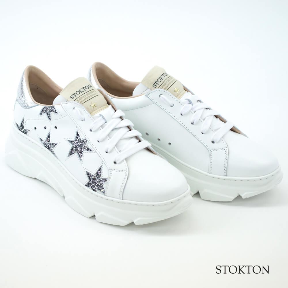 STOKTON ストックトン 星柄レザースニーカー レディース BIANCO×ARGENTO(ホワイト×シルバー) 352D CITY UP
