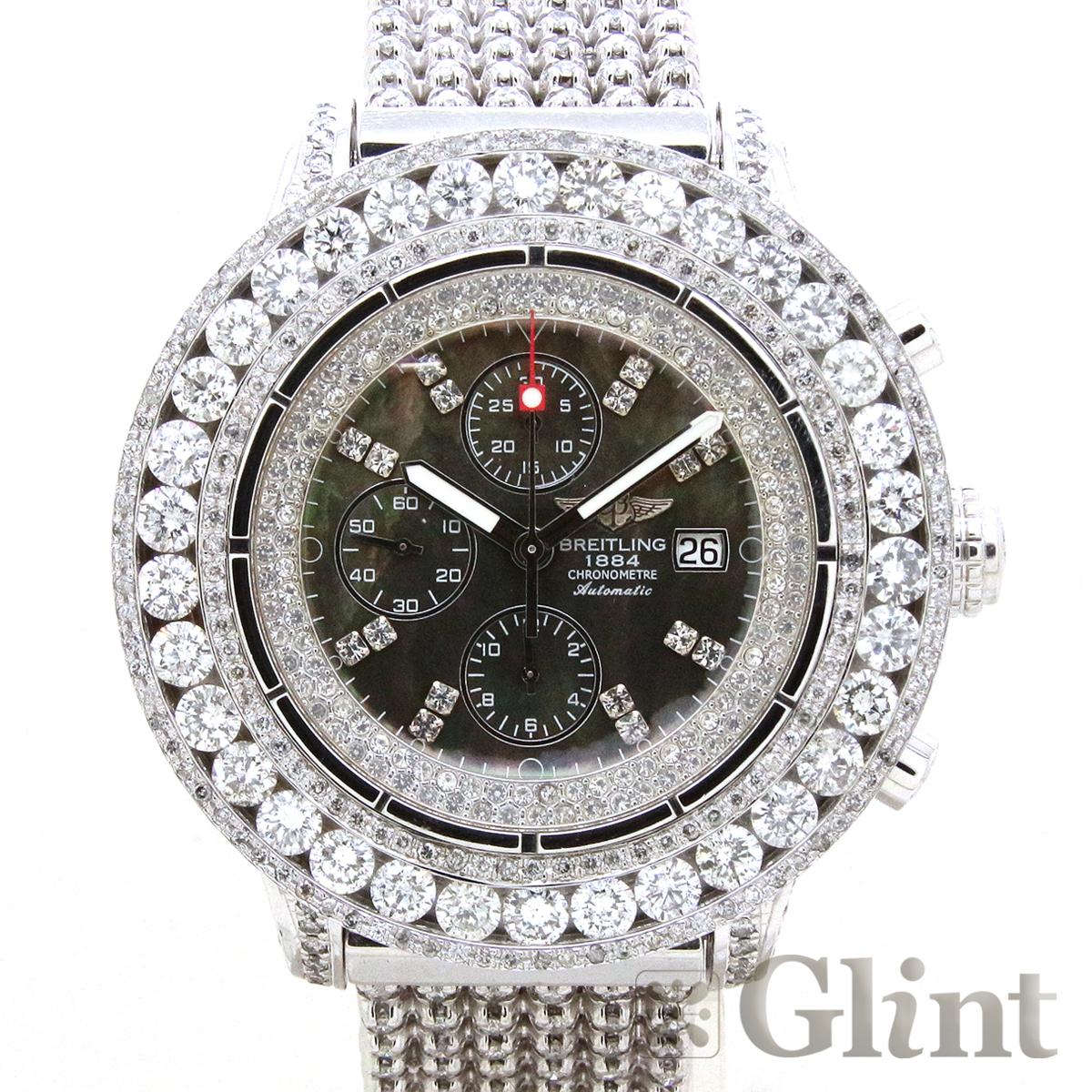 ブライトリング【BREITLING】スーパーアベンジャー A13370〔フルダイヤモンド〕〔カスタム〕〔メンズ〕〔腕時計〕【中古】