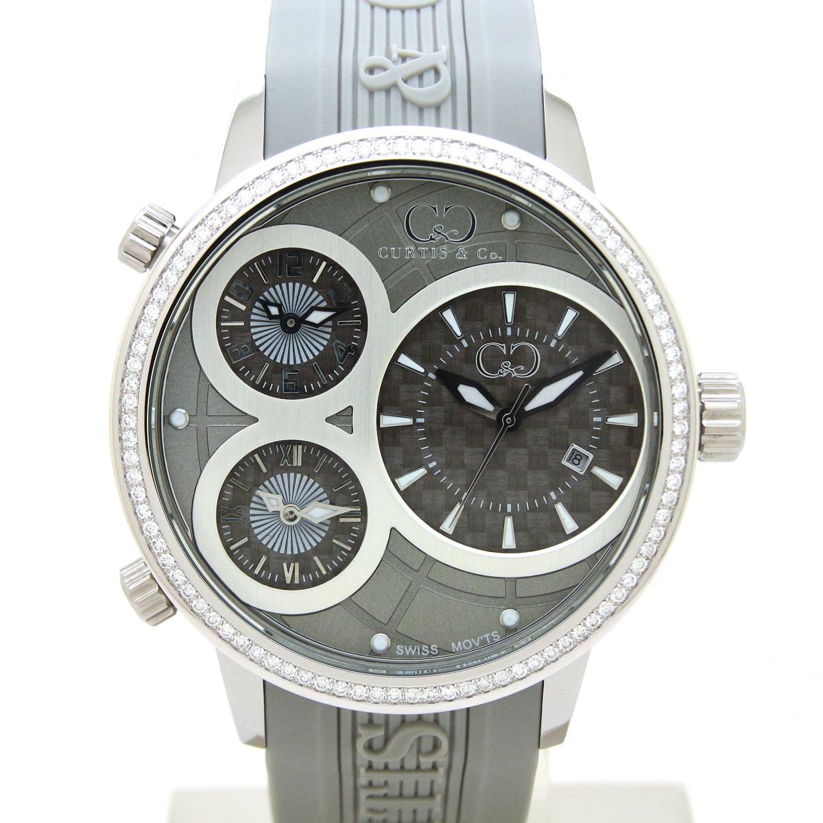 CURTIS&Co(カーティス)BIG TIME WORLD 50mm(Gray) カーティス ビックタイムワールド50mm ダイヤモンド【腕時計】