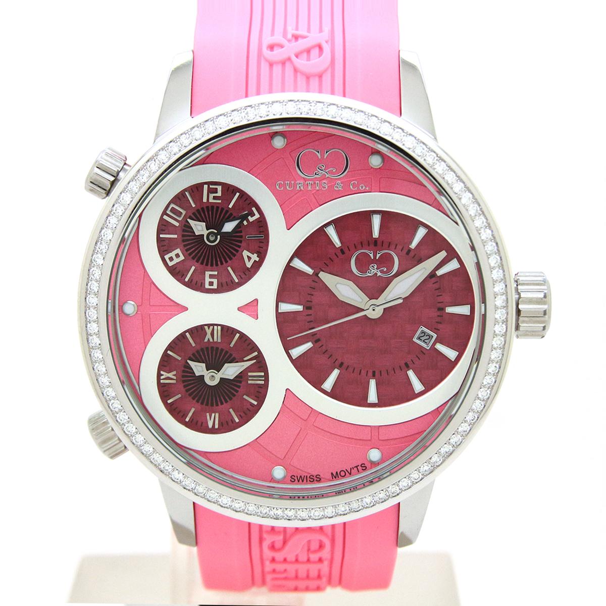 CURTIS&Co(カーティス)BIG TIME WORLD 50mm(Pink) カーティス ビックタイムワールド50mm ダイヤモンド【腕時計】