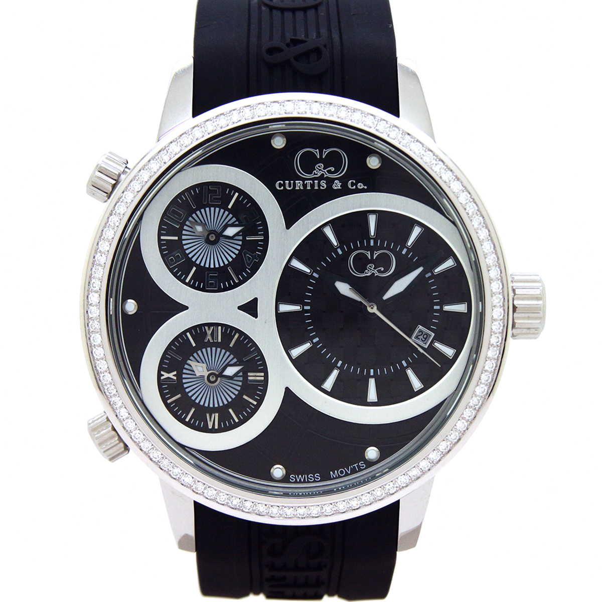 CURTIS&Co(カーティス)BIG TIME WORLD 50mm(Black) カーティス ビックタイムワールド50mm ダイヤモンド【腕時計】