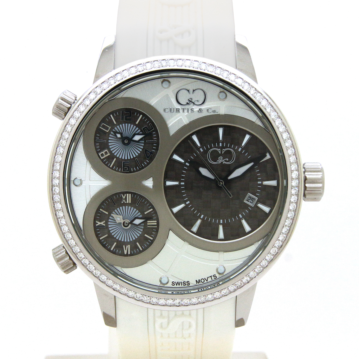 CURTIS&Co(カーティス)BIG TIME WORLD 50mm(White) カーティス ビックタイムワールド50mm ダイヤモンド【腕時計】