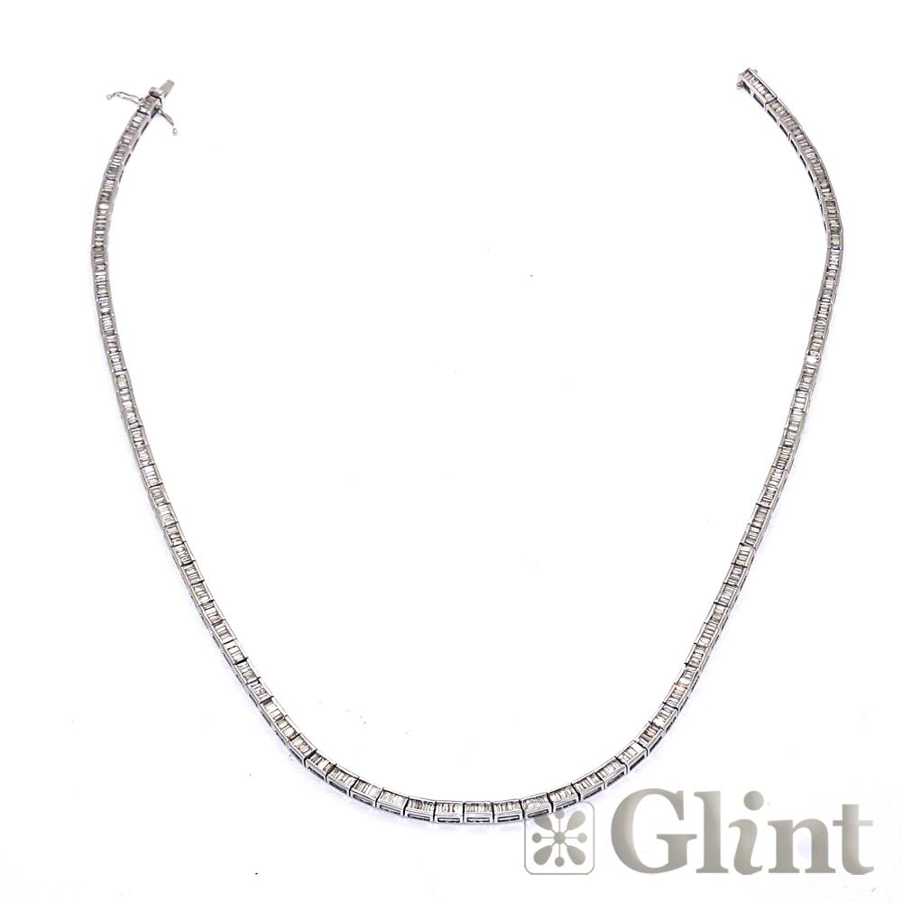 【Glint】グリント バゲットダイヤモンドネックレス 18Kホワイトゴールド サイズ50cm〔新品〕