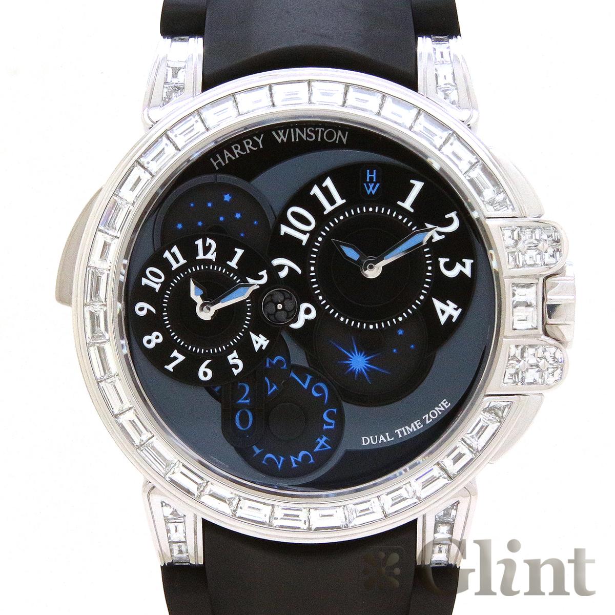 ハリーウィンストン【HARRYWINSTON】オーシャン デュアルタイム バゲットダイヤモンド 400/MATZ44WL.K1〔18Kホワイトゴールド〕〔腕時計〕〔メンズ〕【中古】