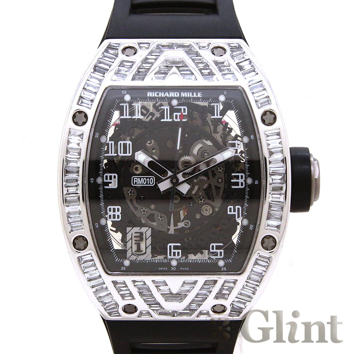 リシャールミル【RICHARD MILLE】RM010 オートマティック 18Kホワイトゴールド バゲットダイヤモンド〔腕時計〕〔メンズ〕【中古】