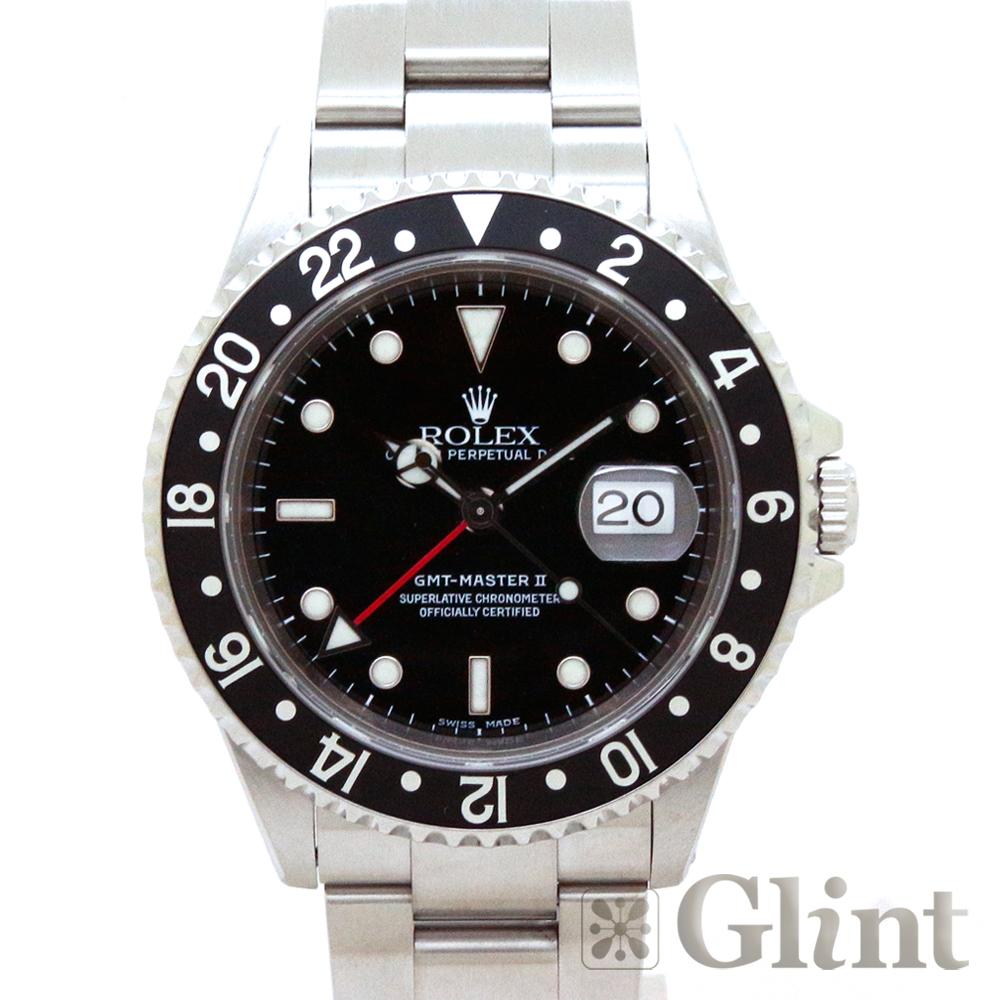 ロレックス(ROLEX)GMTマスターII 16710 ブラックベゼル〔メンズ〕〔腕時計〕〔P番〕〔黒ベゼル〕【中古】
