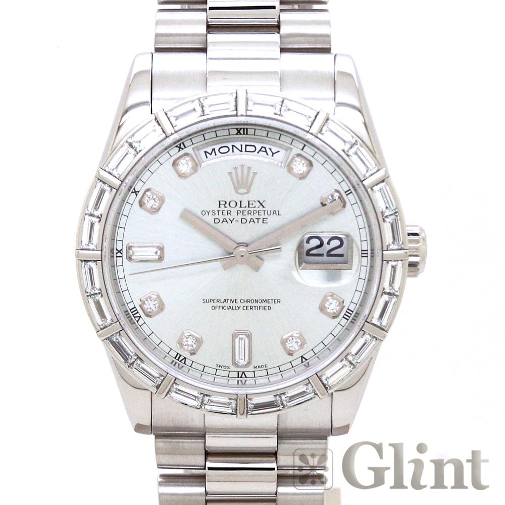 ロレックス(ROLEX)デイデイト 118366A 〔バゲットダイヤモンド〕〔プラチナ〕〔腕時計〕〔メンズ〕〔K番〕【中古】