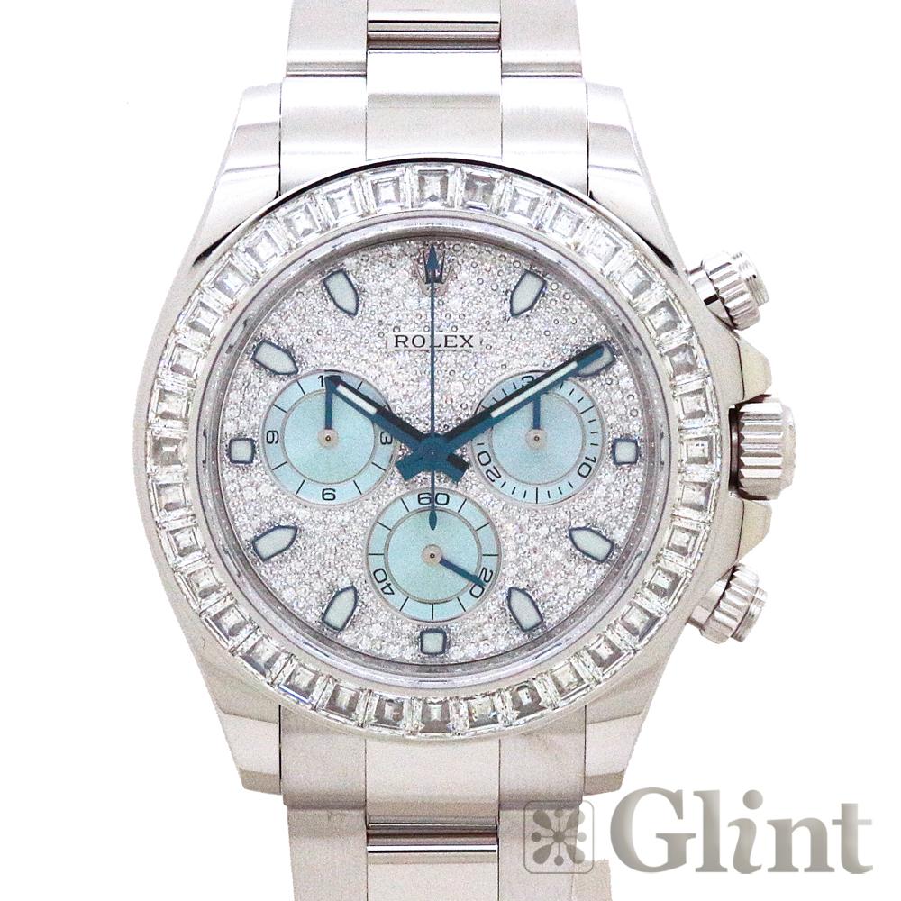 ロレックス(ROLEX)デイトナ 116576TBR プラチナ アイスブルー〔腕時計〕〔メンズ〕〔バゲットダイヤモンド〕〔純正ダイヤモンド〕〔生産終了〕【中古】