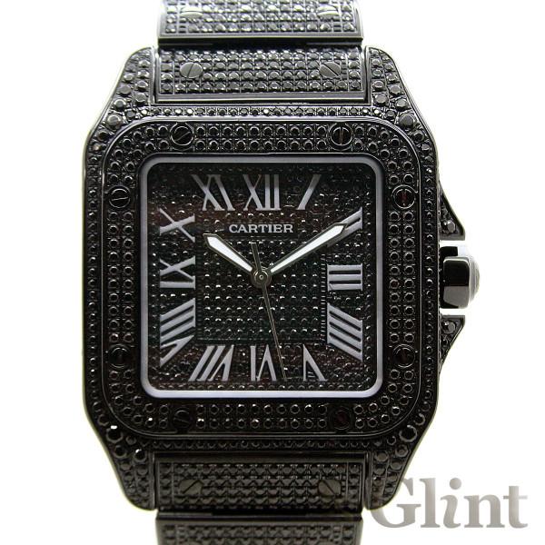 CARTIER(カルティエ)サントス 100LM(W200737G) フルブラックカスタム(ブラックPVD)〔フルブラックダイヤブレス〕〔腕時計〕〔メンズ〕【中古】