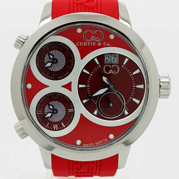 新品 安心の1年保証 即日配送 CURTISCo カーティス BIG 贈物 ビックタイムワールド57mm 57mm TIME Red WORLD お中元 腕時計