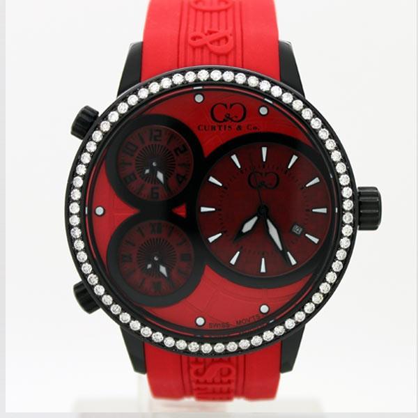 CURTIS&Co(カーティス)BIG TIME WORLD 50mm(Red/BC) カーティス ビックタイムワールド50mm(BC) ダイヤモンド【腕時計】