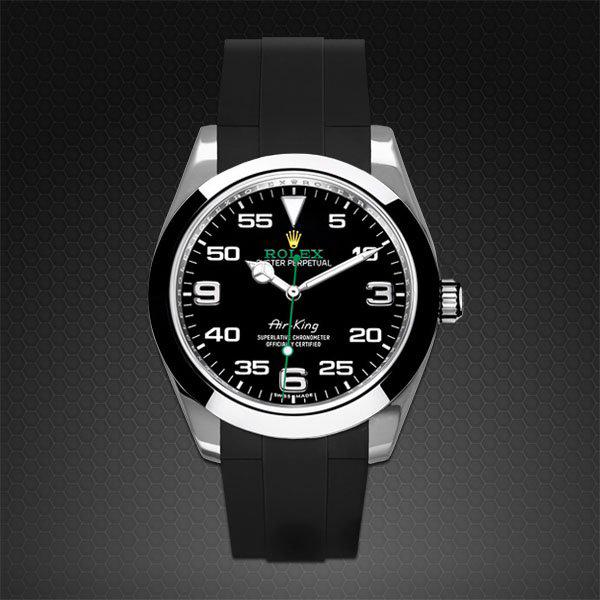 reputable site 9ae45 c3c67 ラバーB【RUBBERB】ロレックス エアキング 40mm(116900)専用ラバーベルト  色:ブラック【ROLEX純正バックルを使用】【ラバーバンド】※時計、バックルは付属しません|グリント
