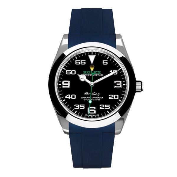 ラバーB【RUBBERB】ロレックス エアキング 40mm(116900)専用ラバーベルト 色:ネイビー【ROLEX純正バックルを使用】【ラバーバンド】※時計、バックルは付属しません