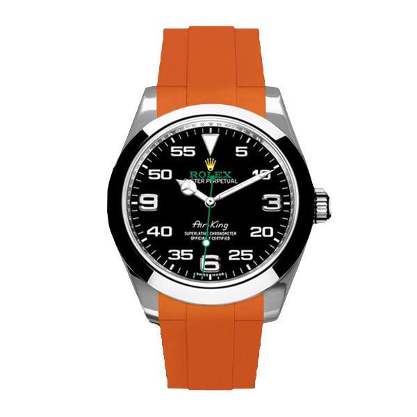 ラバーB【RUBBERB】ロレックス エアキング 40mm(116900)専用ラバーベルト 色:オレンジ【ROLEX純正バックルを使用】【ラバーバンド】※時計、バックルは付属しません