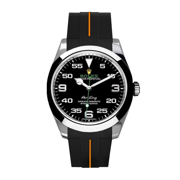 ラバーB【RUBBERB】ロレックス エアキング 40mm(116900)専用ラバーベルト 色:ブラック×オレンジ【ROLEX純正バックルを使用】【ラバーバンド】※時計、バックルは付属しません