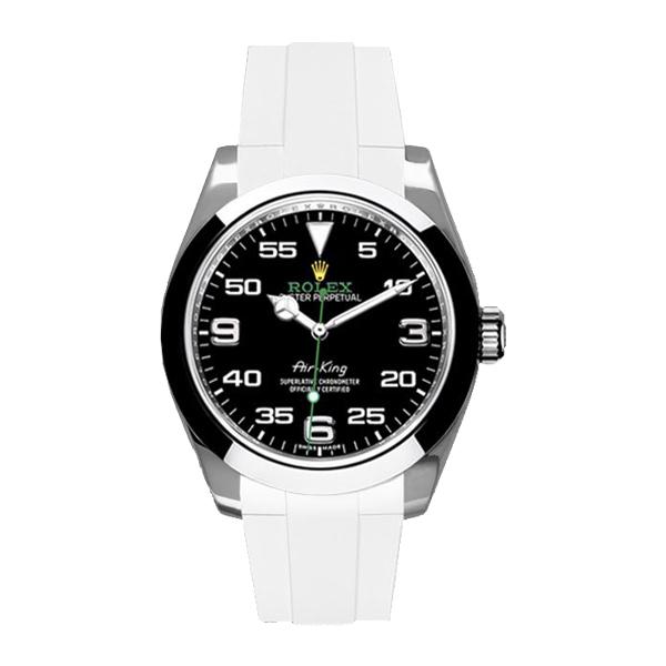ラバーB【RUBBERB】ロレックス エアキング 40mm(116900)専用ラバーベルト 色:ホワイト【ROLEX純正バックルを使用】【ラバーバンド】※時計、バックルは付属しません