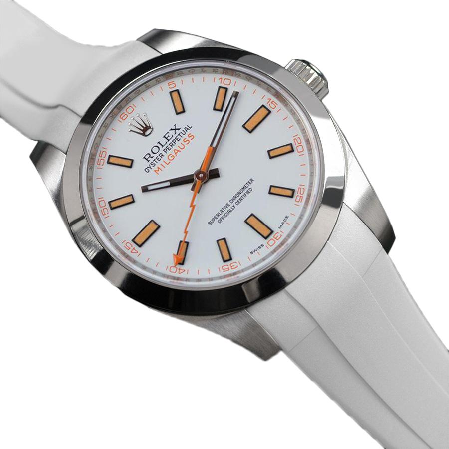 腕元をカジュアルに魅せるミルガウス専用ラバーベルト 今ダケ送料無料 ラバーB RUBBERB 激安特価品 ROLEXミルガウス専用ラバーベルト ROLEX純正バックルを使用 バックルは付属しません 色:ホワイト ※時計