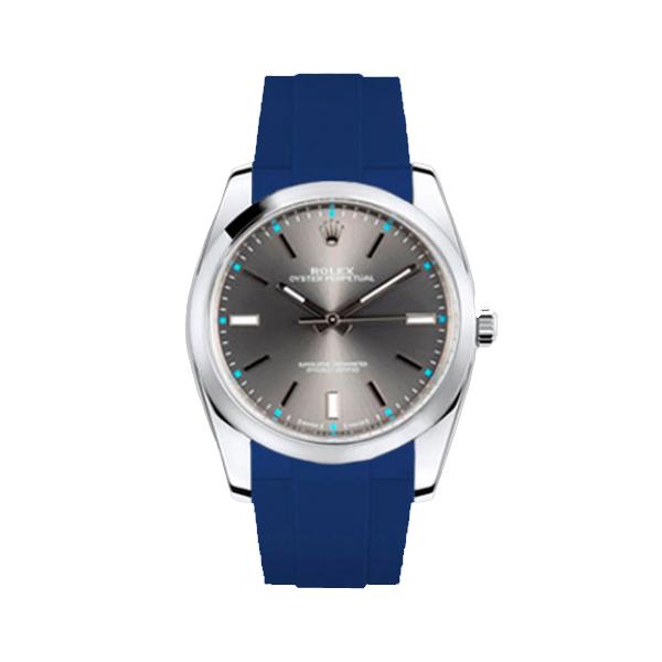 ラバーB【RUBBERB】ROLEX オイスターパーペチュアル 39mm専用ラバーベルト 色:ブルー【尾錠付き】※時計は付属しません
