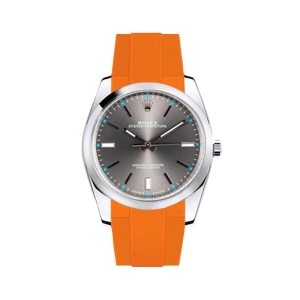 ラバーB【RUBBERB】ROLEX オイスターパーペチュアル 39mm専用ラバーベルト 色:オレンジ【ROLEX純正バックルを使用】※時計、バックルは付属しません