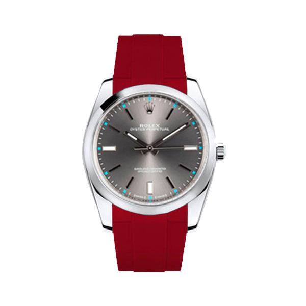 ラバーB【RUBBERB】ROLEX オイスターパーペチュアル 39mm専用ラバーベルト 色:レッド【尾錠付き】※時計は付属しません