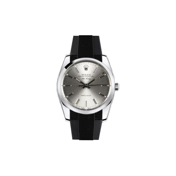 ラバーB【RUBBERB】ROLEX エアキング 34mm専用ラバーベルト 色:グレー×ブラック【ROLEX純正バックルを使用】【ラバーバンド】【即日発送】※時計、バックルは付属しません
