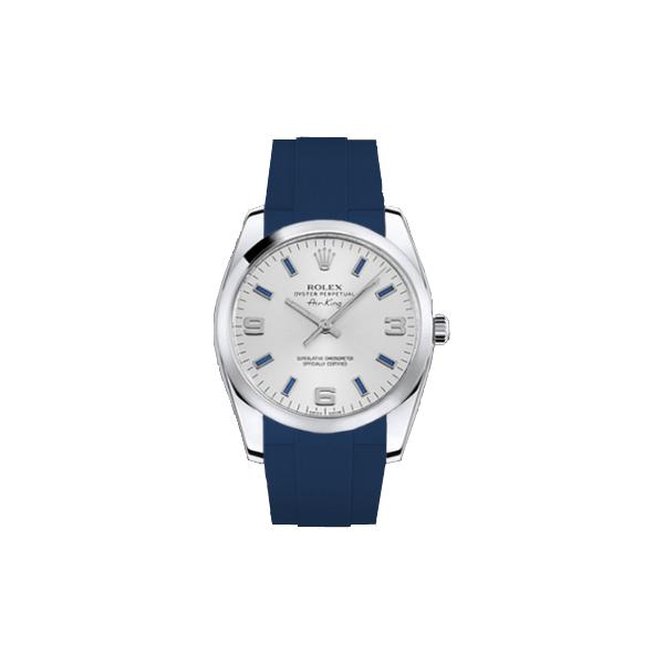 ラバーB【RUBBERB】ROLEXエアキング 34mm専用ラバーベルト 色:ブルー【ROLEX純正バックルを使用】【ラバーバンド】【即日発送】※時計、バックルは付属しません