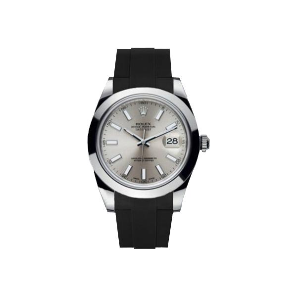 ラバーB【RUBBERB】ROLEXデイトジャストII(41mm)専用ラバーベルト 色:ブラック【ROLEX純正バックルを使用】※時計、バックルは付属しません