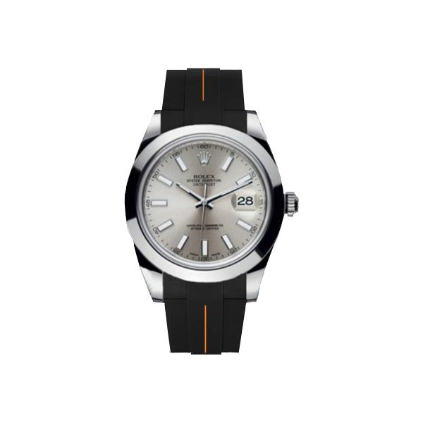 ラバーB【RUBBERB】ROLEX デイトジャストII(41mm)専用ラバーベルト 色:ブラック×オレンジ【ROLEX純正バックルを使用】※時計、バックルは付属しません