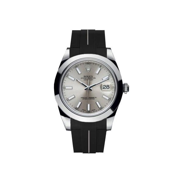 ラバーB【RUBBERB】ROLEXデイトジャストII(41mm)専用ラバーベルト 色:ブラック×ホワイト【ROLEX純正バックルを使用】※時計、バックルは付属しません