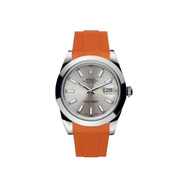 ラバーB【RUBBERB】ROLEXデイトジャストII(41mm)専用ラバーベルト 色:オレンジ【ROLEX純正バックルを使用】※時計、バックルは付属しません