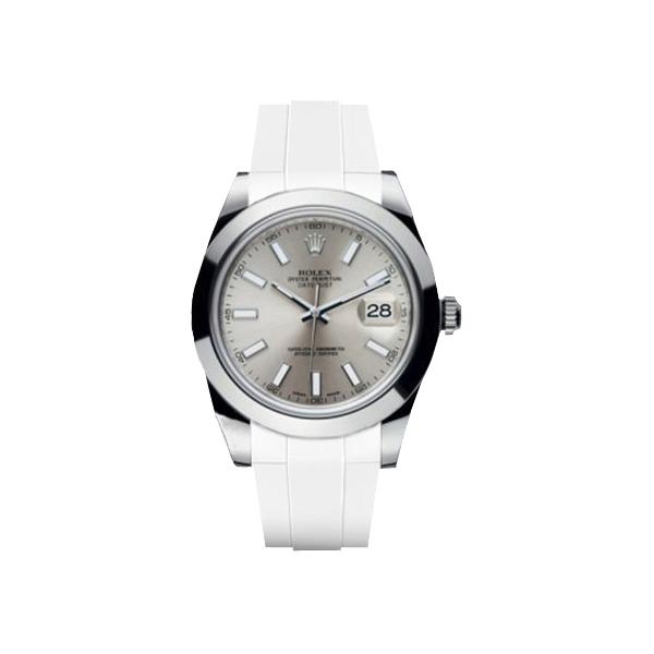 ラバーB【RUBBERB】ROLEXデイトジャストII(41mm)専用ラバーベルト 色:ホワイト【ROLEX純正バックルを使用】※時計、バックルは付属しません