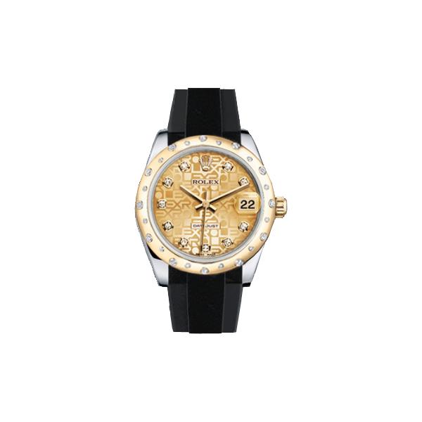 ラバーB【RUBBERB】ROLEXオイスターパーペチュアル デイトジャスト 31mm専用ラバーベルト 色:グレー×ブラック【ROLEX純正バックルを使用】〔レディース〕※時計、バックルは付属しません