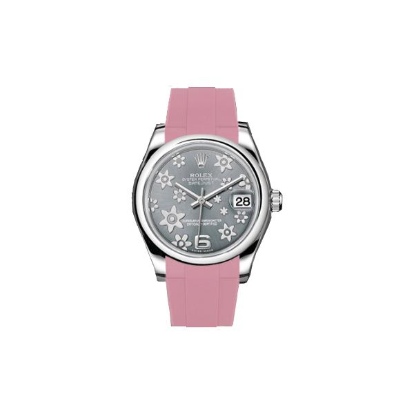 ラバーB【RUBBERB】ROLEXオイスターパーペチュアル デイトジャスト レディ 31mm専用ラバーベルト 色:ピンク【ROLEX純正バックルを使用】〔レディース〕※時計、バックルは付属しません