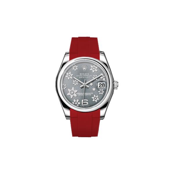 ラバーB【RUBBERB】ROLEXオイスターパーペチュアル デイトジャスト レディ 31mm専用ラバーベルト 色:レッド【ROLEX純正バックルを使用】〔レディース〕※時計、バックルは付属しません