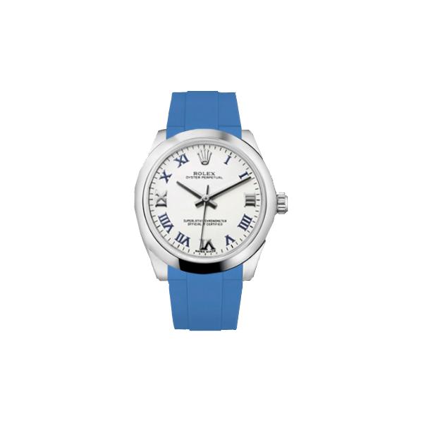 ラバーB【RUBBERB】ROLEXオイスターパーペチュアル デイトジャスト レディ 31mm専用ラバーベルト 色:ブルー【ROLEX純正バックルを使用】〔レディース〕※時計、バックルは付属しません