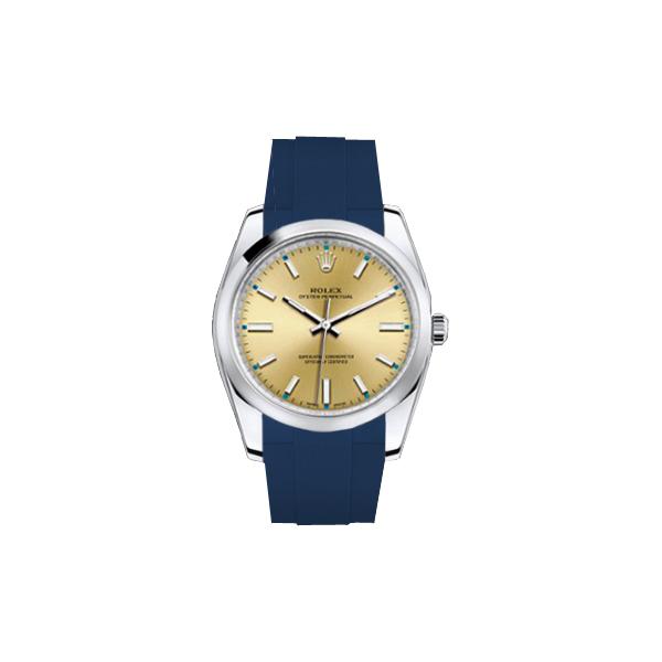 ラバーB【RUBBERB】ROLEXオイスターパーペチュアル 34mm専用ラバーベルト 色:ブルー【ROLEX純正バックルを使用】※時計、バックルは付属しません